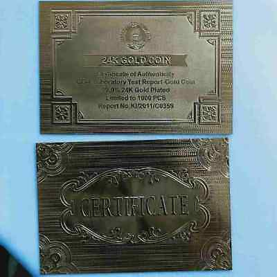 WR 5 × Gold Certificates For Zimbabwe 100 Trillion Dollar Gold Coin Z$ Stone Set