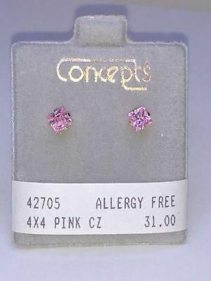 Concepts Non-Allergic 24K GP Surgical Stainless Steel 4x4mm Pink CZ Earrings