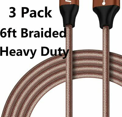 3Pack 6Ft USB Cable Heavy Duty For iPhone 6 7 8plus Charger Charging Cord