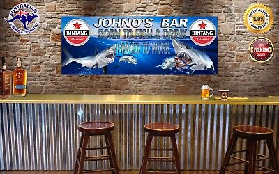 BING TANG BORN TO FISH Banner -  Man Cave Work Shop Garage Shed Bar Whisky