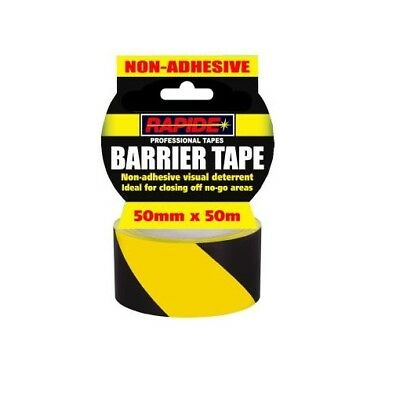 "Hazard Warning Barrier Tape Roll Non Adhesive Yellow & Black 50mm x 50m 2"" UK"