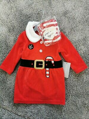 Baby Girls Christmas  Santa  Dress Tights Outfit Costume Holiday Gift