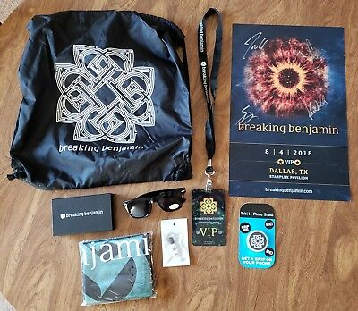 Breaking Benjamin VIP Lanyard, Signed Poster, Phone stand, charger, Sunglasses +