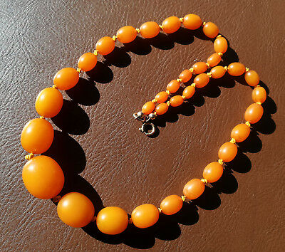 VINTAGE MELTED PRESSED HIGH QUALITY BALTIC BUTTERSCOTCH AMBER NECKLACE BEADS 26g