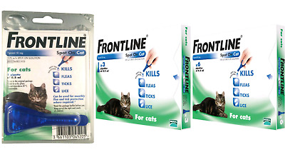 Frontline Spot On Cat Flea, Tick Treatment 1,3 Or 6 Pipettes Available Avm-Gsl