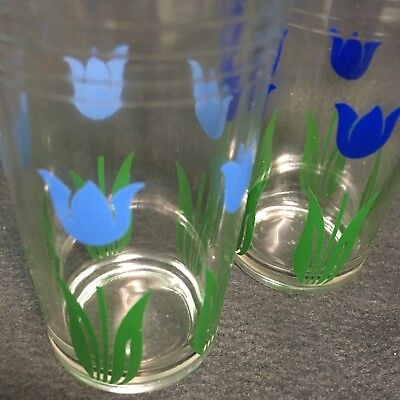 3 Swanky Swig Juice Glasses dark blue tulip light blue and red
