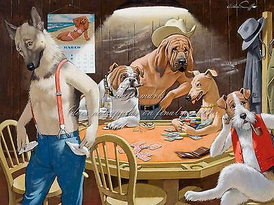 """ARTHUR SARNOFF Painting Poster or Canvas Print """"Gambling Dogs Playing Poker"""""""