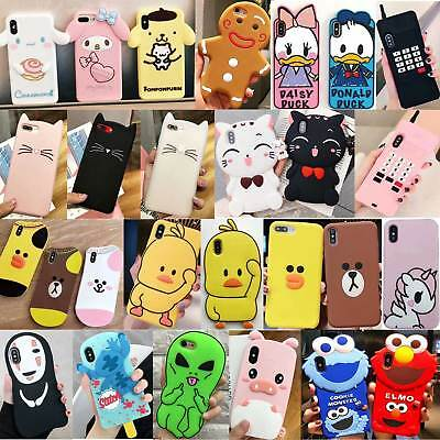 For iPhone Xs Max XR XS 8Plus 3D Cartoon Silicone Case Shockproof Bumper Cover