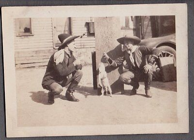 Western Cowboys 1924 Cleveland Ohio Firemans Fire Hall Dog Rat Terrier Old Photo