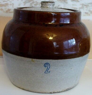 Vintage Stoneware # 2 Bean Pot With Lid And Handle Brown & Tan
