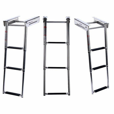 3 Steps Boat Ladder Stainless Steel Telescoping Inboard Ladder Marine Yacht