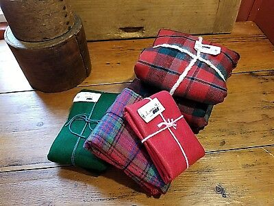 Lot-Antique Christmas Felt Fabric Flannel Fat Quarters Sewing Crafts Plaids Wool