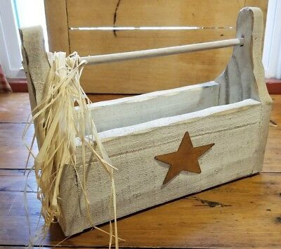 Antique Early To Mid 1900'S Primitive Tin Star Old Wood Carrier With Handle