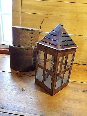 Antique Style Vintage Primitive Old Tin Lantern With Winter Scene Frosted Glass