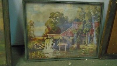 """Vintage Antique Paintings on Canvas 18""""x 20"""" Hand Painted  Art Unknown Artist"""