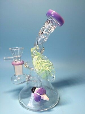 6.5'' Color Bee Leaf Glass Bong smoking Pipes Glass Pipes water Bongs hookahs