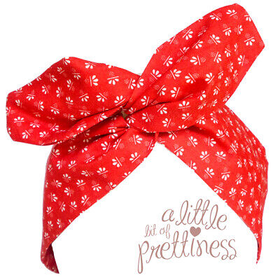 Pin Up 50's Red Patterned Rockabilly Vintage Wire Headband