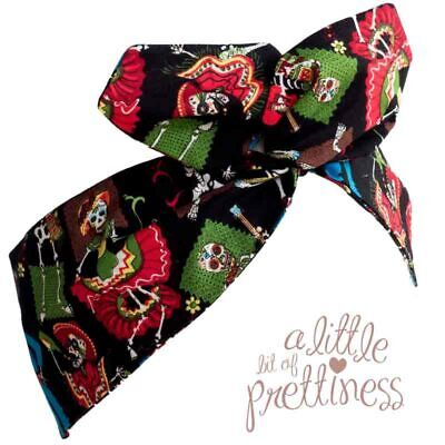 Halloween Day of the Dead Rockabilly 50's Vintage Wire Headscarf