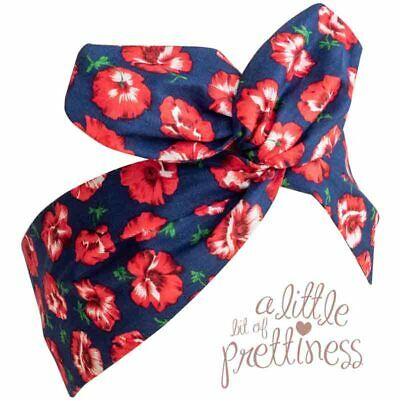 Red and Navy Floral Rockabilly 50's Vintage Wire Headscarf