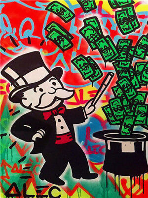 Alec Monopoly Handcraft HUGE Oil Painting on Canvas Magician 24x32 Unframed wall