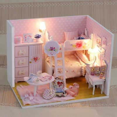 DIY Dollhouse 3D Wooden House LED Light Furniture Kid Girl DIY Crafting Gift Toy