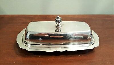 Vintage Silver Plated 2 Piece Covered Butter Dish