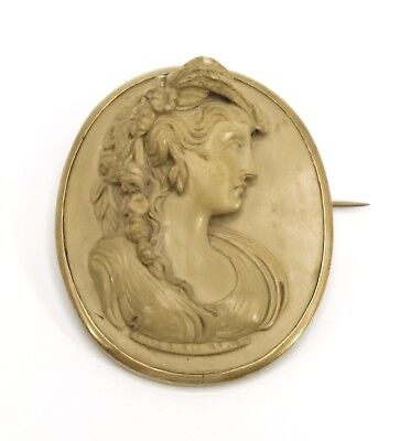Antique Georgian Victorian Lava Cameo Grand Tour Neoclassical Brooch 19th Cent