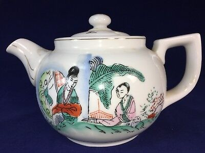 Vintage Japanese Chinese Hand Painted Heavy Porcelain TEAPOT