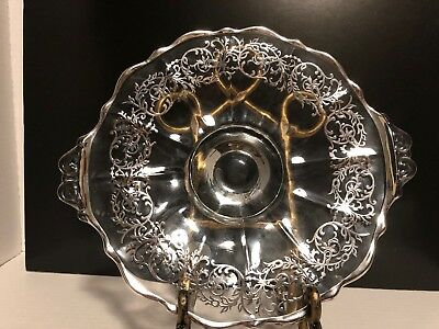 Vintage two handle clear glass cake plate with painted silver trim And Decor