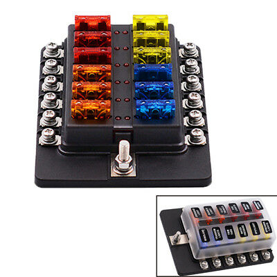 Car Boat Houses 12V-32V 100A 12 Way Fuse Box with Cover LED Indicator Light