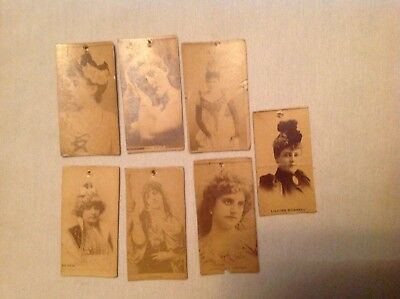 7 Sweet Caporal Cigarette Tobacco Cards, Actresses
