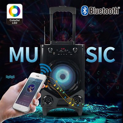 Portable BT Party Speaker System Bluetooth Big Led Stereo Tailgate Loud w/ Mic