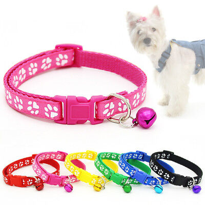 1PC Adjustable Pet Paw Dog Collars Cat Puppy Buckle Nylon Collar with Bell