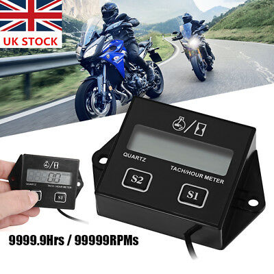 Digital LCD Tach Hour Tachometer RPM Meter For Motorcycle 2/4 Stroke Engines UK