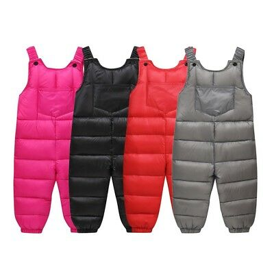 Casual Kids Baby Winter Thick Warm Suspenders Strap Pants Overalls Trousers