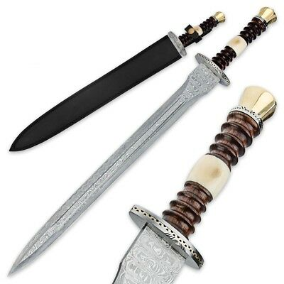 Layered Damascus Steel Medieval Knight Short Sword Gladius Weapon Sharp Full HC