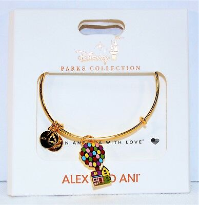 Disney Alex & Ani Gold Bangle Bracelets Pixar Up Carls Balloons House NEW CUTE