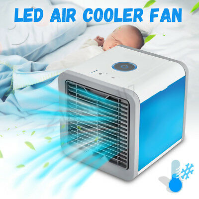 Mini Portable Air Conditioner Air Cooler LED Personal Desk Cooling Fan Home Car