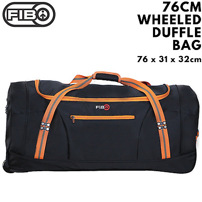 FIB 76cm Wheeled Duffle Bag Heavy Duty Travel Sports Gym w Straps - Black/Orange