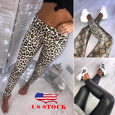 US Women Leopard Snake Animal Print High Waist Soft Stretchy Leggings Pants S-XL