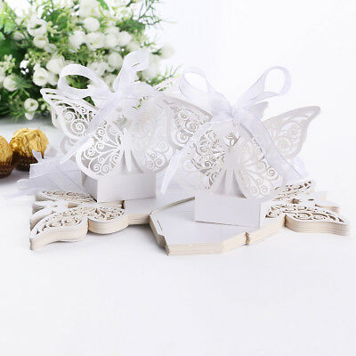 Pack of 20 Sweet Laser Cut Butterfly Gift Candy Boxes Wedding Favor 5x3.2x3.3cm