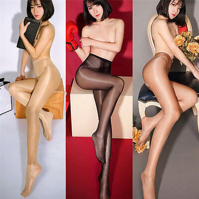 Women Shiny Glossy Lingerie Open Crotch Pantyhose High Waist Tights Stocking、Pop