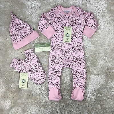 Pure Organic Cotton Baby Girl 0-3 Mths Baby Grow, Hat & Mittens Set Pink Hearts
