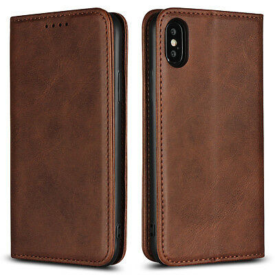Genuine Leather Magnetic Flip Wallet Case Cover For iPhone XR XS Max 8 7 6S Plus