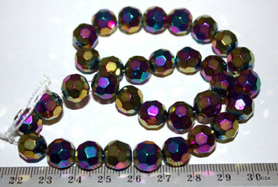 MC003 - Faceted Glass Electroplate Mixed Colour AB Beads - 10mm x 1 st 33pce 39g