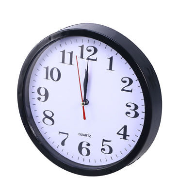 9 inch Black Wall Clock Non Ticking Quality Quartz Battery Operated USA