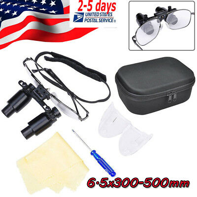 Dental Loupes 6.5X 300-500mm Binocular Magnifier Loupe Titanium Alloy Frame+ bag