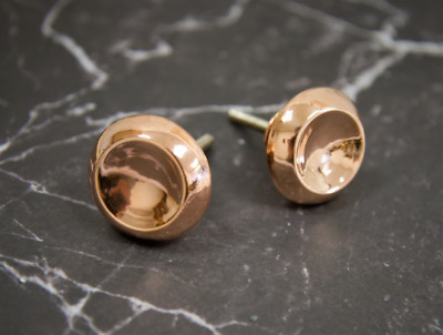 Rose Gold Metal Drawer Pull | Circular Copper Cabinet Door Knob, Cupboard Handle