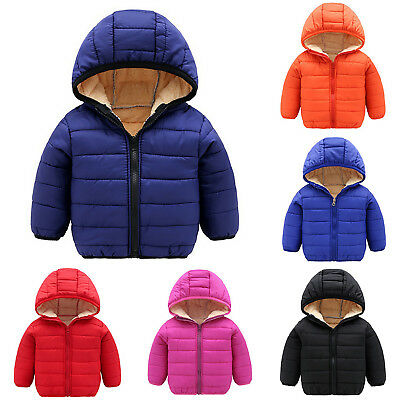 Kids Baby Toddler Boys Girls Winter Hoodie Coat Down Jacket Tops Hooded Parka 7Y