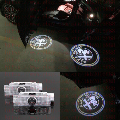 2 LED Door Light Projector Logo HD For Alfa Romeo Stelvio Giulietta Mito 159 147